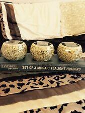 Set di 3 Oro Champagne Crackle Glass Mosaico tealight portacandele giorno successivo