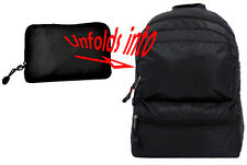 Black Travel Backpack FOLDS INTO A POUCH zipper Pocket Rip Stop Convertible