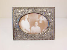 Large Silver Plate Photo Picture Frame - Ornate Art Nouveau Flower & Leaf Design