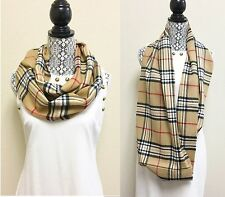 NEW CAMEL,BEIG,TAN,BLACK,WHITE+RED CHECKERS,PLAID INFINITY,LOOP SCARF,WRAP,SHAWL