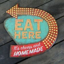 EAT HERE It's Cheap and Homemade Kitchen Wall Sign - Retro Farmhouse Decor