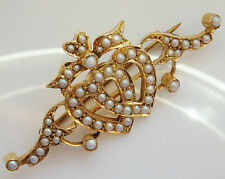 Stunning Victorian Romantic 15ct Gold Pearl set 'Entwined Hearts' Brooch c1885