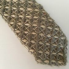 vintage I. Magnin men's knit neck tie all silk made in Italy grey & ivory plaid