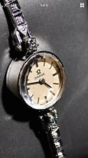 14K White Gold Vintage Omega Ladies Automatic Watch .33 cttw Diamond Inlay