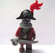 Lego Zombie Pirate Captain Minifigure With Sword Red Feather Halloween