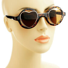 Steampunk Fashion Hippie Retro Style Heart Shaped Lens Round Sunglasses Tortoise