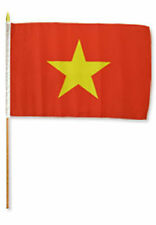 "12x18 12""x18"" Vietnam Stick Flag wood Staff"
