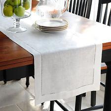 """1 x White 100% Cotton Table Runner 14x71""""(35x180cm) 2mm Hemst Dining Table Linen"""