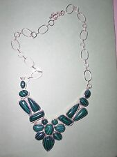 "Massive AMAZING MALACHITE Cluster Runaway Statement Bib Necklace 19"" CUTE!"