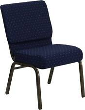 LOT OF 50 21'' EXTRA WIDE NAVY PATTERNED STACKING CHURCH CHAIRS GOLD VEIN FRAME