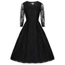 NEW VINTAGE 50'S STYLE ROCKABILLY LISETTE BLACK LACE PARTY SWING DRESS SIZE 12