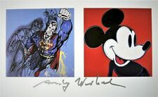 "Andy Warhol ""SUPERMAN and MICKY MOUSE"" Hand signed Print Silver pen Gallery COA"