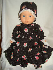 "Black, Red Flower Dress, Bonnet & Booties.  Fit  Baby Born/Annabell16/18"" Doll"