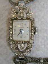 VINTAGE 1960's HAMILTON LADIES WATCH 14K WHITE GOLD WITH DIAMONDS- RUNNING