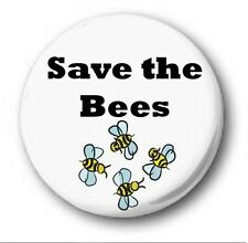 """SAVE THE BEES - 25mm 1"""" Button Badge - Novelty Cute Environment"""