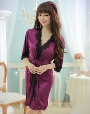 Women Sexy Purple Lace Sleepwear Chemise Kimono Sleep Nighty Gown Bath Robe Coat