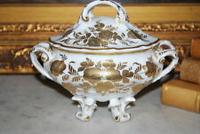SUPERB FRENCH SEVRES STYLE CABINET VANITY ROCOCO FOOTED PORCELAIN GOLD WORK BOX