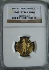 1985 Netherlands Gold Ducat NGC PF-69 Ult. Cameo