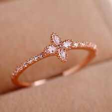 Elegant Women's Rose Gold Filled CZ Ring Lucky Clover Wedding Gifts Jewelry