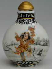 18c porcelain gold hand made drawing one of 8 immortal lancaihe snuff bottle