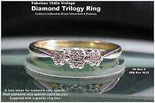 Diamond Trilogy Ring 9ct yellow Gold & Platinum UK size U Vintage Circa 1940s