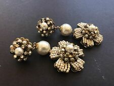 long Sign Miriam Haskell  Baroque Pearls Flower Earrings Jewelry