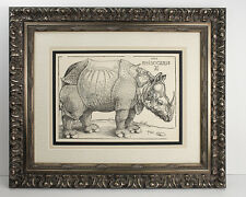 "Famous 1800s Albrecht Durer B136 Antique Woodcut ""Rhinoceros"" SIGNED Framed COA"