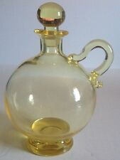 ~ Vintage Clear Glass Bottle Decanter With Matching Stopper Yellow Handblown