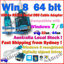 USB to RS232 Serial DB9 9 Pin Cable Adapter Windows 8 64 bit Win 7 RS-232 pickup