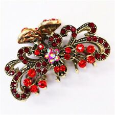 New Fashion Red Crystal silver tone Metal flower hair claws clips pins 1218
