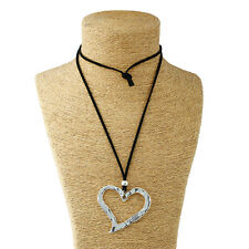 Silver Lagenlook Large Abstract Alloy Peach Heart Pendant Long Chain Necklace