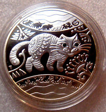 UKRAINE 2011 5 UAH Lunar Year of the Cat / Rabbit Silver Zirconium Rubies
