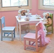 kids study table and chair set wood wooden 4 chairs playroom furniture pastel - Toddler Wooden Table And Chairs