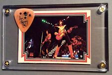 KISS Ace Frehley Donruss card #9 / official orange signature guitar pick display