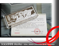 50g ASIA Dragon Art Bar .9999 Silver Bar Framed with Super Low COA of 9