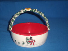 """*Clearance* 2007 Fitz and Floyd Holiday Home """"Snowman"""" Basket Handle (F22-10)"""