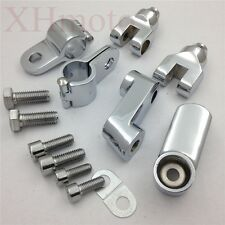 """Replacement Chrome Longhorn Offset Peg Mounts 1"""" Magnum Clamp For Harley"""