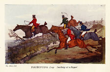 FOX HUNTING SWISH AT A RASPER, HIGH FENCE JUMPING, HORSE WHIP ANTIQUE PRINT