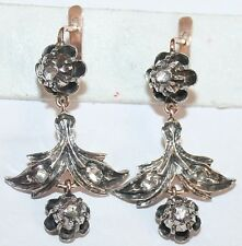 ANTIQUE VICTORIAN 9k GOLD SILVER 8 ROSE DIAMOND LARGE FINE DANGLE EARRINGS c1880