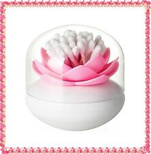 Pink Lotus Flower Cotton Bud Cosmetic Brushes Cotton Ball Holder Container