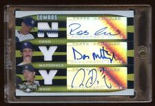 2006 TOPPS GOLD TRIPLE AUTO JERSEY #D 9/9 DON MATTINGLY- CANO-CHIEN-MING WANG