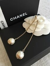 New in Box AUTHENTIC Chanel GOLD Silver logo CC Pearl Shape Dangle Earring