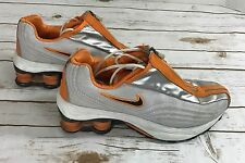 Nike Shox R4 Running Shoes, #105296-441, Silver, Orange Black Womens US Size8.5