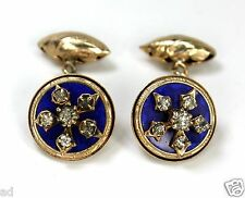 Antique Victorian Cufflinks Gold Plate Blue Guilloche Enamel Rhinestones