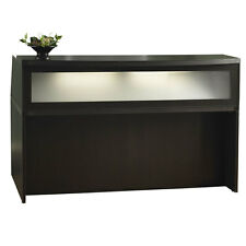 Mocha Finish Reception Desk with Textured Glass