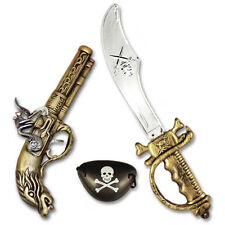 PIRATE SWORD GUN EYEPATCH PLASTIC FANCY DRESS COSTUME ACCESSORIE CUTLASS MUSKET