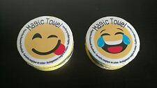 Lot of 2 EMOJI Magic Grow Towels Tongue Out laughing LOL Grows  water hand towel