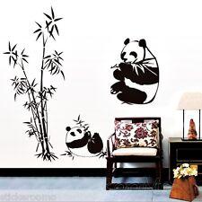 Arbre de bambou noir panda amovible Chambre Mur Art Stickers Décalcomanie Décoration