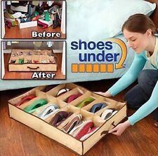 Under Bed Shoe Sox Storage Organiser Store Box  Rack Pockets Bags Tidy UK SELLER