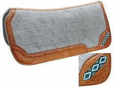 "Showman 32"" x 32"" Saddle Pad W/ TEAL Beaded Inlay & Leather Trim! HORSE TACK!"
